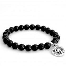 Bracelet en pierre de lave et perles argent