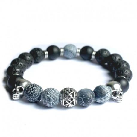 Bracelet en onyx et tête de mort argent