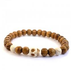 Bracelet wrap en onyx, pierre de lave et oeil du tigre